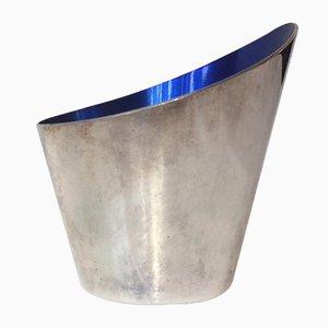 Modernistische versilberte emaillierte Concave Vase von DGS für Ronson, 1950er