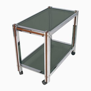 Chrome, Mahogany & Tempered Glass Bar Cart, 1980s