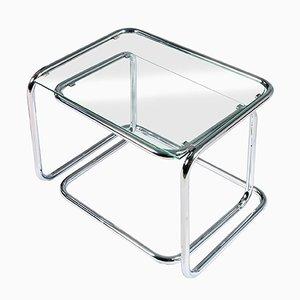 Mid-Century Modern Kristallglas und Chrom Satztische, 2er Set