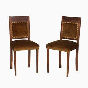Italienische Art Deco Walnuss & Samt Stühle, 2er Set