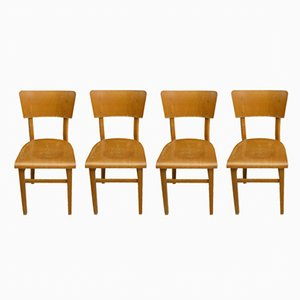 Czechoslovakian Bistro Chairs from Thonet, 1950s, Set of 4