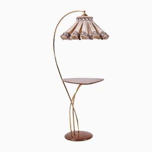 Vintage Stehlampe mit Ablage und Stoffschirm, 1960er