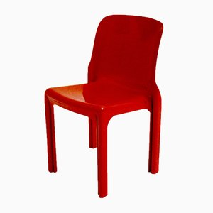 Roter Vintage Selene Fiberglas Stuhl von Vico Magistretti für Artemide