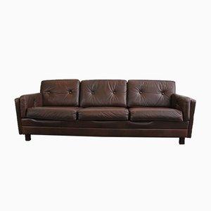 Danish Leather 3-Seater Sofa, 1950s