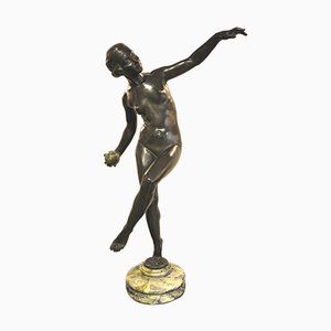 Art Deco Bronze & Marble Sculpture by Lucien Alliot, 1930s