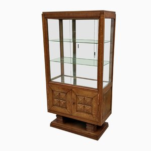 Vintage French Oak Display Cabinet by Gaston Poisson, 1940s