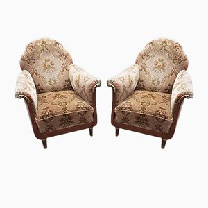 Antique Italian Velvet Club Chairs with Brass Elements & Nail Heads, 1900s, Set of 2