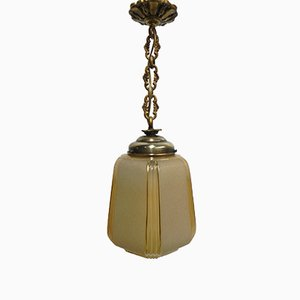 Art Deco Hanging Lamp on Chain with Beige Glass Ball