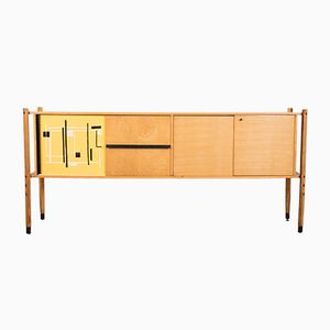 Italian Oakwood Sideboard with Plastic Abstract Printed Pattern by Roberto Aloi, 1950s