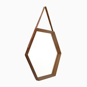 Italian Hexagonal Teak Frame Mirror, 1960s
