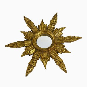 Mid-Century Golden Sunburst Mirror, 1960s