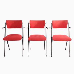 Rote Modell Pyramid Stühle von Rietveld für Ahrend de Cirkel, 3er Set