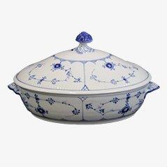 Blau-Weiß Gerippte Porzellan Terrine von Royal Copenhagen