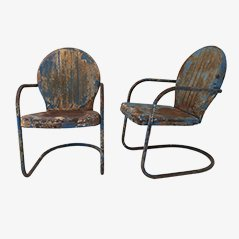 Mid-Century American Clam Shell Patio Chairs, 1950s, Set of 2