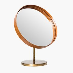 Swedish Teak & Brass Table Mirror, 1950s