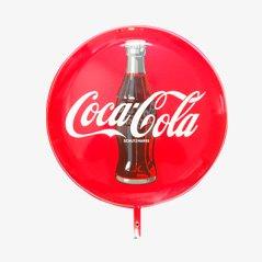 Insegna grande double face della Coca Cola smaltata, anni '60