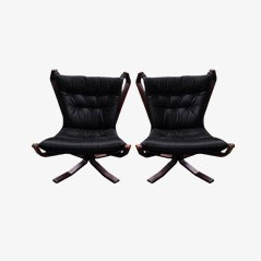 Black Leather Falcon Chair by Sigurd Ressell, Set of 2