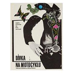 Tschechisches Vintage The Girl on a Motorcycle Filmposter von Stanislav Vajce, 1969