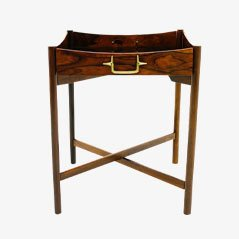 Danish Rosewood and Brass Tray Table, 1960s