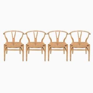 CH-24 Oak Wishbone Chairs by Hans Wegner for Carl Hansen & Søn, 1970s, Set of 4