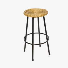 Vintage High Wicker Bar Stool from Rohe Noordwolde, 1950s