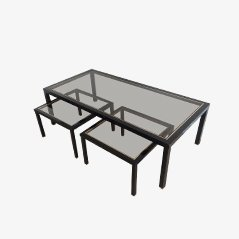 Brass Coffee Table with Pair of Side Tables, Set of 3