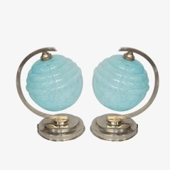 French Art Deco Bedside Table Lamps, Set of 2