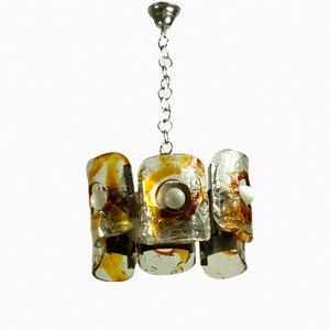 Large Vintage Hand-Crafted Pendant with Chrome Plates from Mazzega