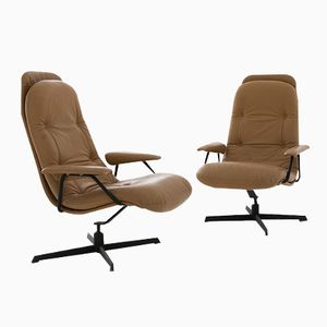 Vintage Beige Leather Swivel Chairs, Set of 2