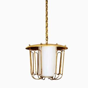 Mid Century Austrian Brass Pendant Lamp by J.T. Kalmar, 1950s