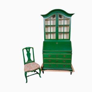 Secretaire vintage fatto a mano con sedia, Svezia