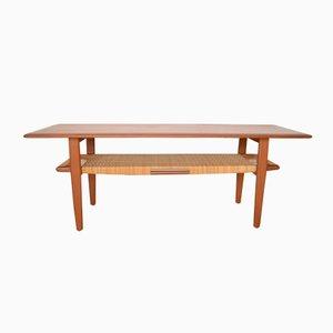 Coffee Table with Rattan Shelf by Kurt Østervig for Jason Møbler, 1950s