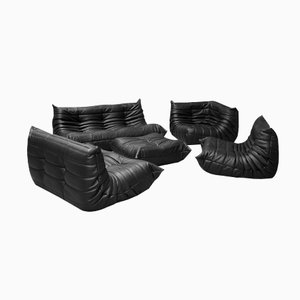 Vintage Black Leather Togo Sofa Set by Michel Ducaroy for Ligne Roset