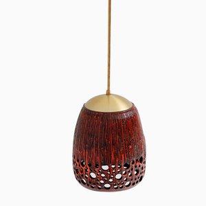 Lampada a sospensione in ceramica smaltata rossa