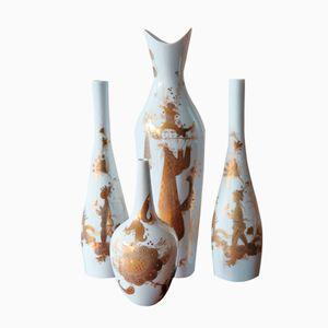 Porzellanvasen von Bjorn Wiinblad für Rosenthal Studio, 4er Set