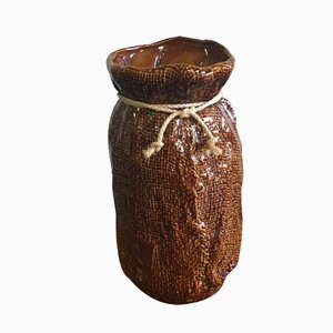 Vase Mid-Century en Céramique Brune, Allemagne
