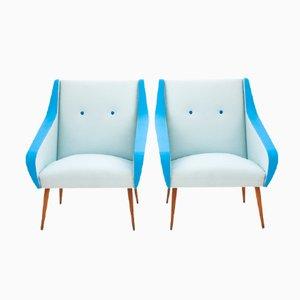 Swedish Mid-Century Skai Leather Lounge Chairs, Set of 2