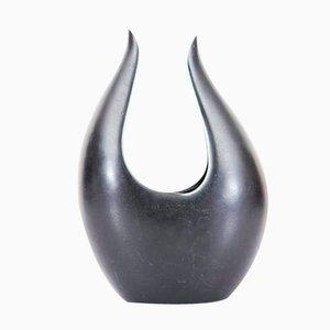 Kurze Schwarze Caolina Vase von Gunnar Nylund für Rörstrand, 1960er