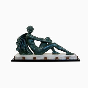 Large French Art Deco Spelter Figure by Ugo Cipriani, 1930s