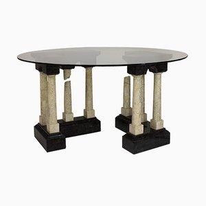 Table Basse Vintage en Marbre & Verre, Italie