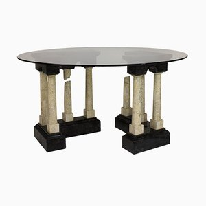 Vintage Italian Marble & Glass Center Table