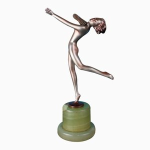 Figurine Art Déco Viennoise en Bronze par Lorenzl, 1930