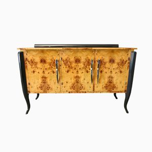French Art Deco Walnut and Murano Glass Buffet
