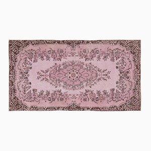 Vintage Turkish Pink Overdyed Floral Rug
