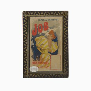 Art Nouveau Cardboard Advertisement for JOB Cigarettes by Jules Cheret, 1889