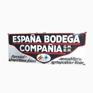 Grand Panneau Publicitaire Emaillé pour Vins Espagnol et Portugais de Frankfurter Emaillierwerke