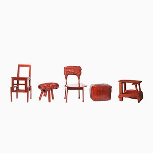 Chinese Stools – Made in China, Copied by the Dutch 2007, Rot von Studio Wieki Somers, 5er Set