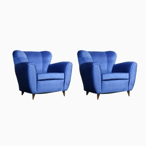 Vintage Italian Blue Armchairs, 1960s, Set of 2