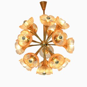 Italian Floral Midcentury Murano Glass Chandelier, 1960s
