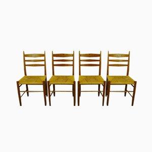 Skandinavische Esszimmerstühle aus Eichenholz und Papierkordel, 4er Set